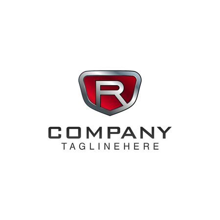 R Letter shield vector logo template. Black and red color. This alphabet or font symbol suitable for protection business or automotive