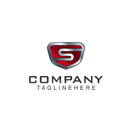 S Letter shield vector logo template. Black and red color. This alphabet or font symbol suitable for protection business or automotive