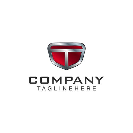 T Letter shield vector logo template. Black and red color. This alphabet or font symbol suitable for protection business or automotive
