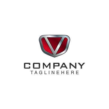 V Letter shield vector logo template. Black and red color. This alphabet or font symbol suitable for protection business or automotive 向量圖像