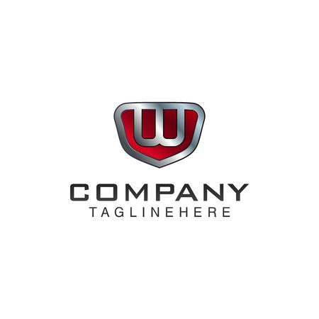 W Letter shield vector logo template. Black and red color. This alphabet or font symbol suitable for protection business or automotive