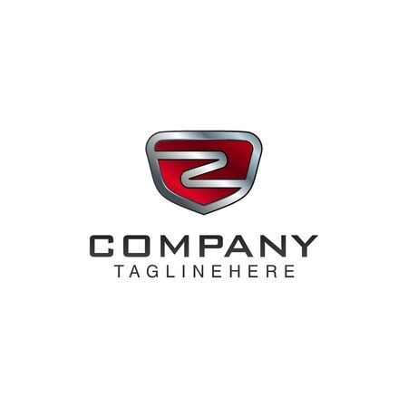 Z Letter shield vector logo template. Black and red color. This alphabet or font symbol suitable for protection business or automotive