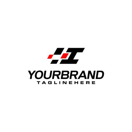 Auto speed letter I with race element logo template vector Çizim
