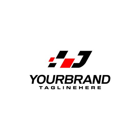 Auto speed letter J with race element logo template vector