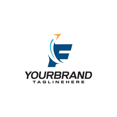 initial letter F logo with arrow shape, letter B travel business logo template