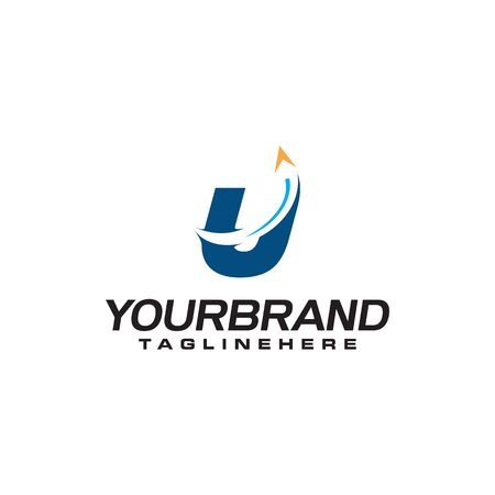 initial letter U logo with arrow shape, letter B travel business logo template  イラスト・ベクター素材