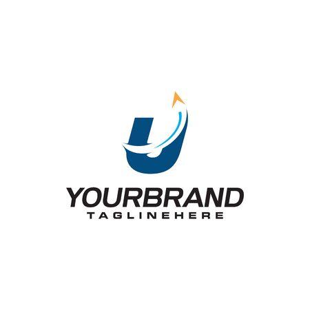 initial letter U logo with arrow shape, letter B travel business logo template Illustration