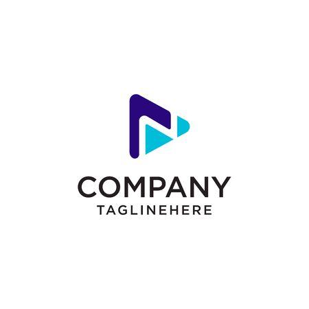 Play Media letter N logo design concept template