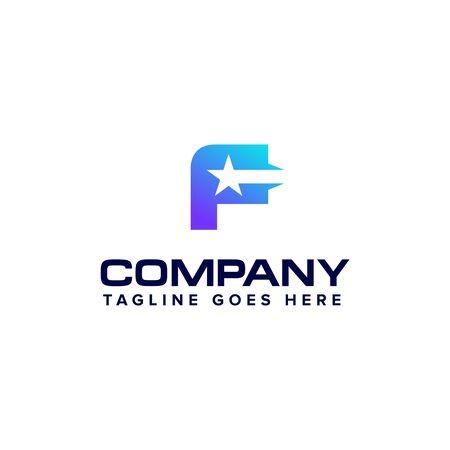 letter F with star logo design concept template Illustration