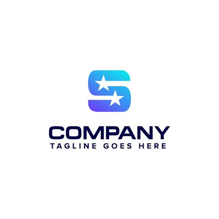 letter S with star logo design concept template Banco de Imagens - 129708285