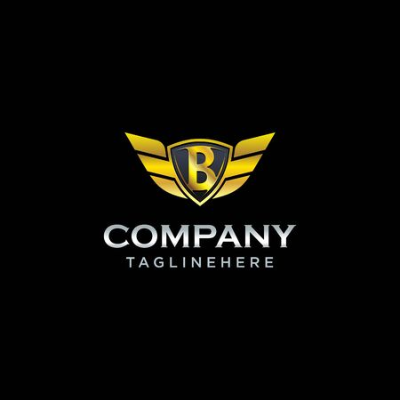 letter B shield with wings gold color  design concept template vector