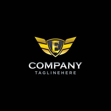 letter E shield with wings gold color  design concept template vector