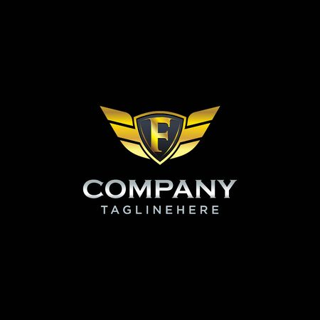 letter F shield with wings gold color  design concept template vector