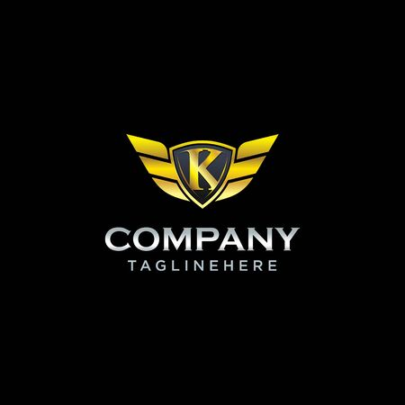 letter K shield with wings gold color  design concept template vector Ilustrace