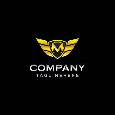 letter M shield with wings gold color  design concept template vector
