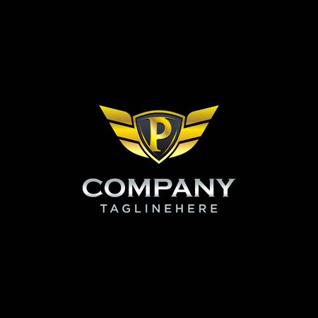 letter P shield with wings gold color  design concept template vector Illustration