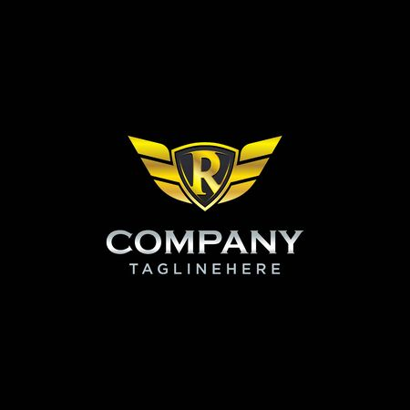 letter R shield with wings gold color  design concept template vector