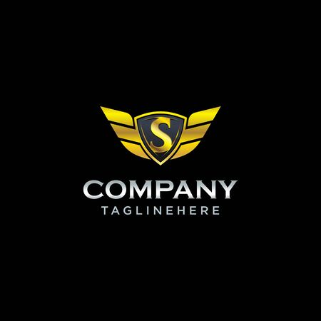 letter S shield with wings gold color  design concept template vector