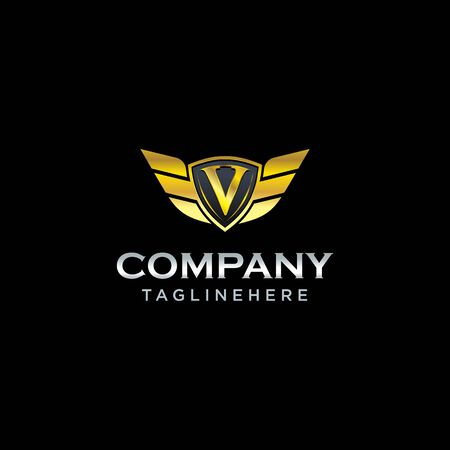 letter V shield with wings gold color  design concept template vector