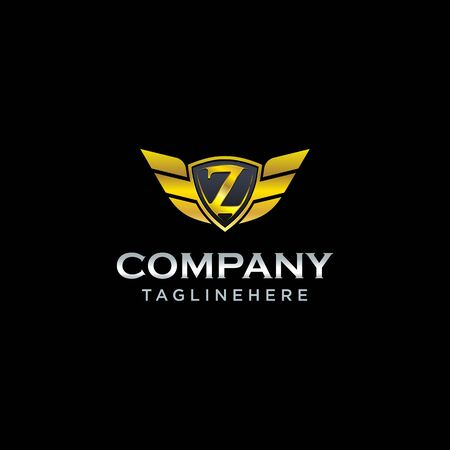 letter Z shield with wings gold color   design concept template vector