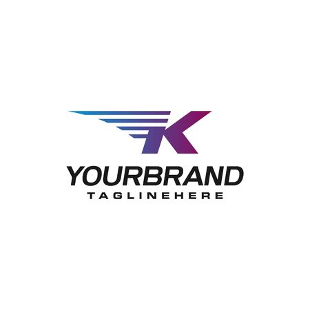 Modern Fast letter K vector  with speed or moving element. Suitable for motion, sport, delivery business.