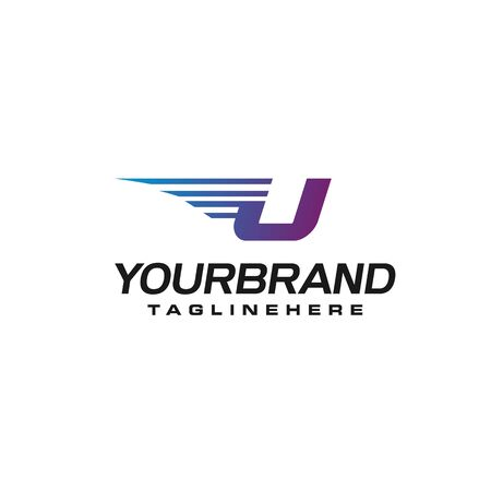 Modern Fast letter U vector  with speed or moving element. Suitable for motion, sport, delivery business.