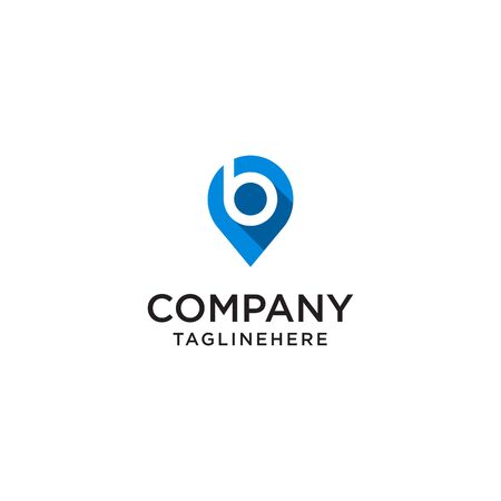 Letter B With Map Pointer  design concept template Иллюстрация