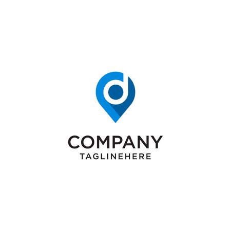 Letter D With Map Pointer  design concept template
