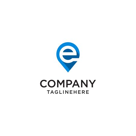 Letter E With Map Pointer  design concept template Иллюстрация