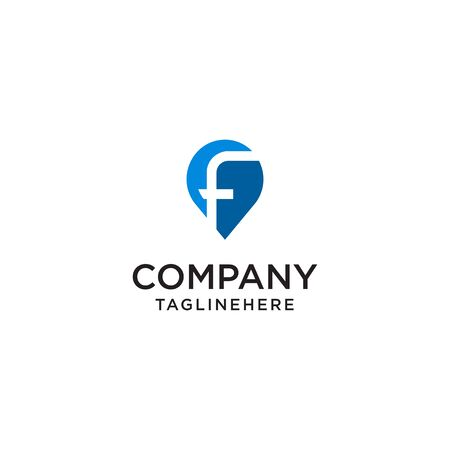 Letter F With Map Pointer  design concept template