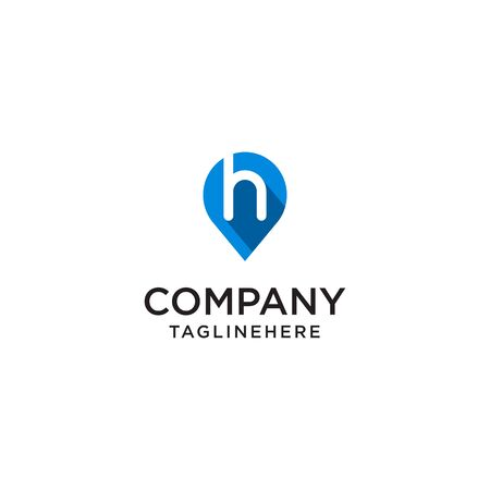 Letter H With Map Pointer  design concept template Иллюстрация
