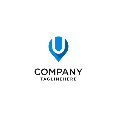 Letter U With Map Pointer  design concept template Иллюстрация