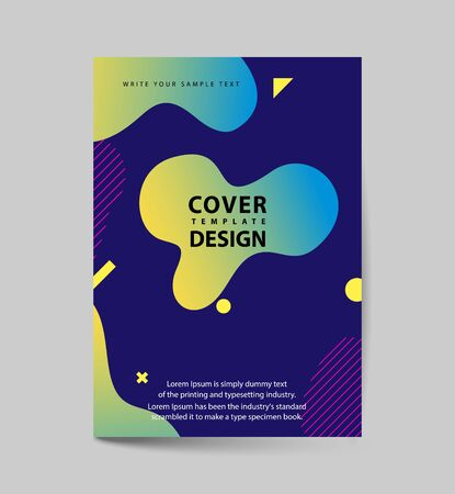 Dynamic colorful poster set with fluid shapes, bright gradients, modern concept. minimal background. ideal for , cover, billboard, brochure, print. Banco de Imagens - 129906966