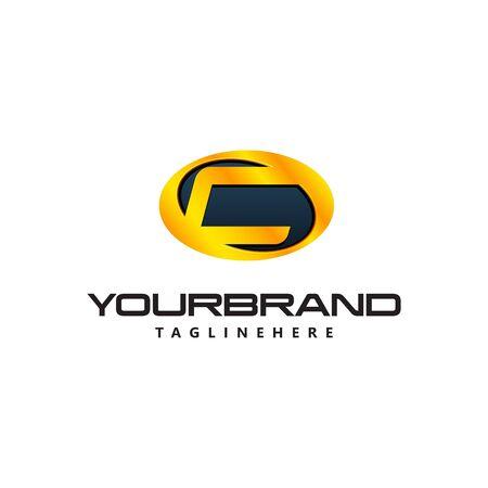 Golden Letter C  curved oval shape. Auto Guard badge auto Ilustrace