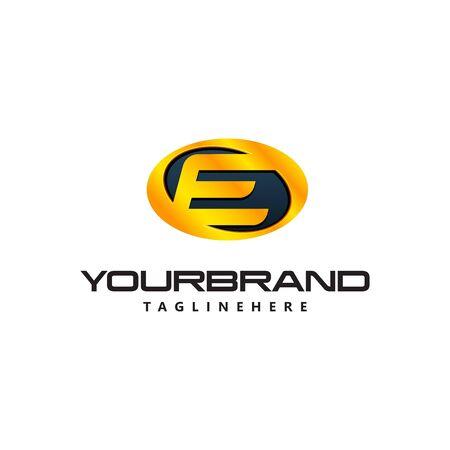 Golden Letter E  curved oval shape. Auto Guard badge auto Ilustrace