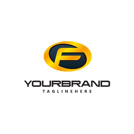 Golden Letter F  curved oval shape. Auto Guard badge auto Ilustrace