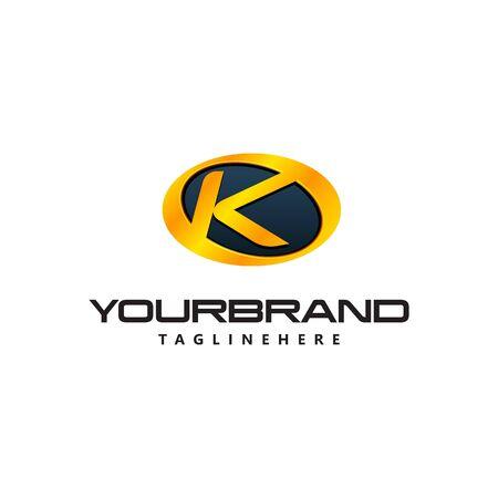 Golden Letter K  curved oval shape. Auto Guard badge auto Ilustrace