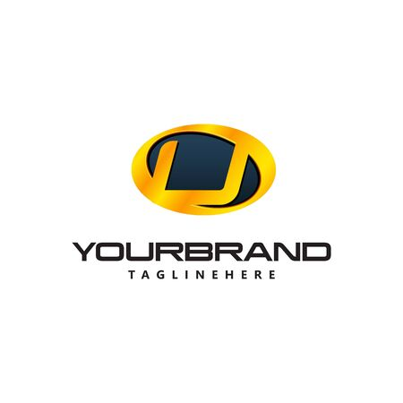 Golden Letter U  curved oval shape. Auto Guard badge auto