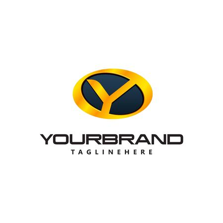 Golden Letter Y  curved oval shape. Auto Guard badge auto