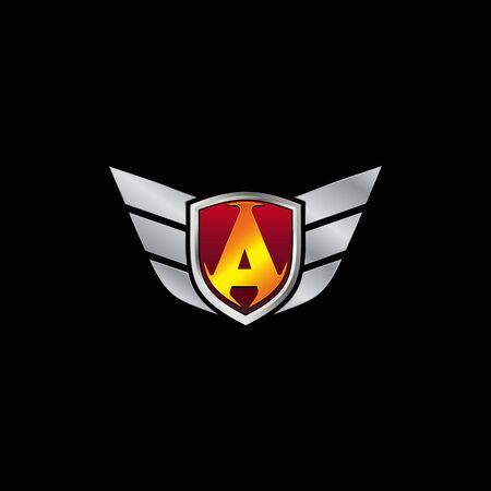 Auto Guard Letter A Icon  design concept template