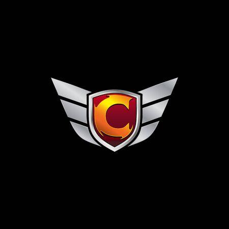 Auto Guard Letter C Icon  design concept template