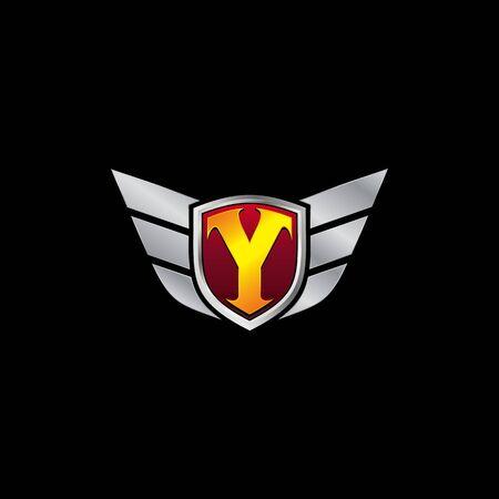 Auto Guard Letter Y Icon  design concept template