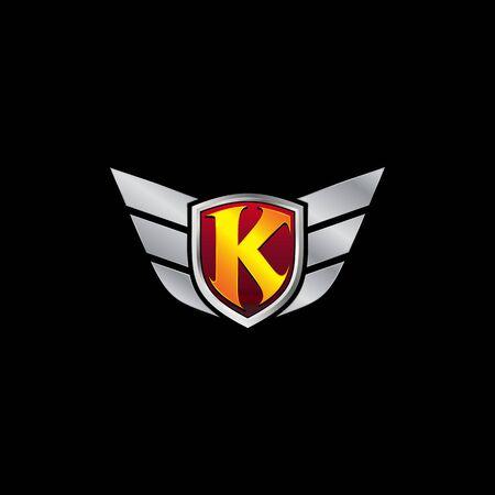 Auto Guard Letter K Icon  design concept template
