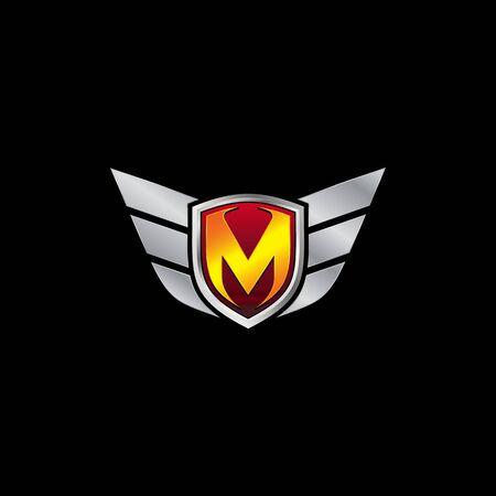 Auto Guard Letter M Icon  design concept template