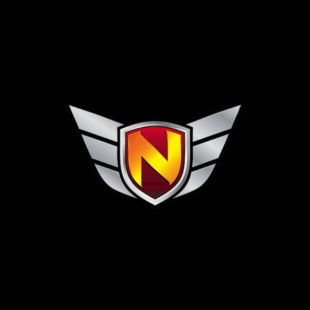 Auto Guard Letter N Icon  design concept template