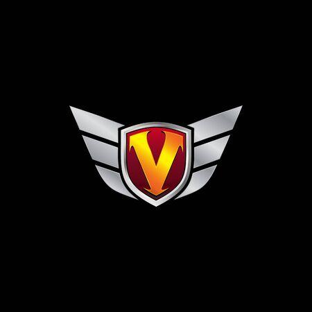 Auto Guard Letter V Icon  design concept template Ilustrace