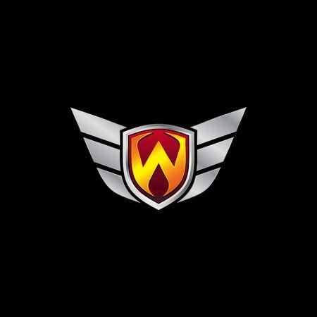 Auto Guard Letter W Icon  design concept template