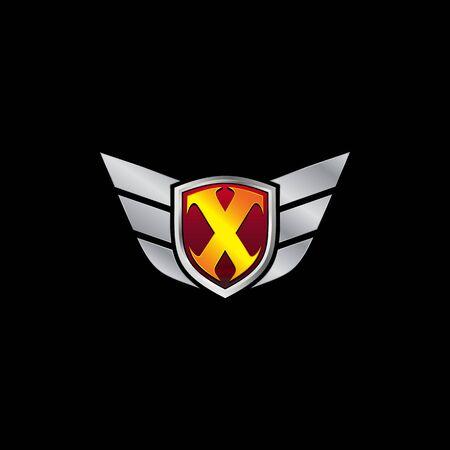 Auto Guard Letter X Icon  design concept template