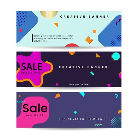 Memphis style Banner Design Set of Colorful templates with geometric shapes, Perfect for Ad invitation, presentation Header, Page, Cover, Vector illustration