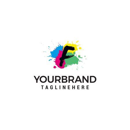 Letter F logo at colorful paint splash background design element template